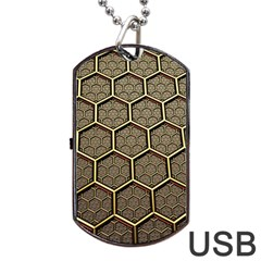 Texture Hexagon Pattern Dog Tag Usb Flash (one Side)