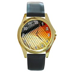 Technology Circuit Round Gold Metal Watch