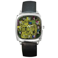 Technology Circuit Board Square Metal Watch