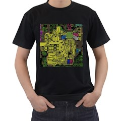 Technology Circuit Board Men s T Shirt (black) (two Sided)