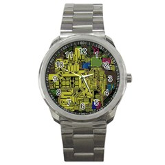 Technology Circuit Board Sport Metal Watch