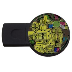 Technology Circuit Board Usb Flash Drive Round (4 Gb)