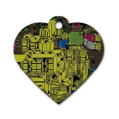 Technology Circuit Board Dog Tag Heart (one Side)