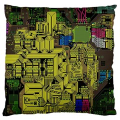 Technology Circuit Board Large Flano Cushion Case (one Side)