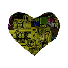 Technology Circuit Board Standard 16  Premium Flano Heart Shape Cushions
