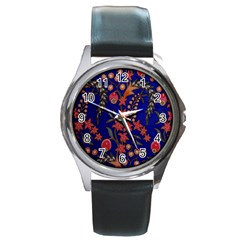 Texture Batik Fabric Round Metal Watch