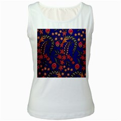 Texture Batik Fabric Women s White Tank Top