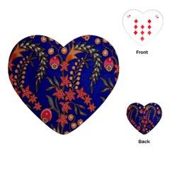 Texture Batik Fabric Playing Cards (heart)