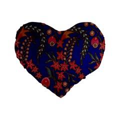 Texture Batik Fabric Standard 16  Premium Flano Heart Shape Cushions