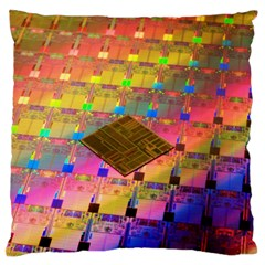 Technology Circuit Pentium Die Large Flano Cushion Case (two Sides)