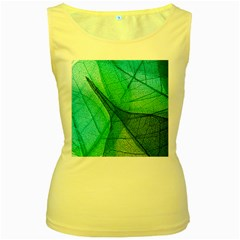 Sunlight Filtering Through Transparent Leaves Green Blue Women s Yellow Tank Top
