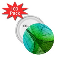 Sunlight Filtering Through Transparent Leaves Green Blue 1 75  Buttons (100 Pack)
