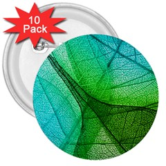 Sunlight Filtering Through Transparent Leaves Green Blue 3  Buttons (10 Pack)