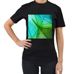 Sunlight Filtering Through Transparent Leaves Green Blue Women s T Shirt (black) (two Sided)