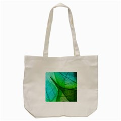 Sunlight Filtering Through Transparent Leaves Green Blue Tote Bag (cream)