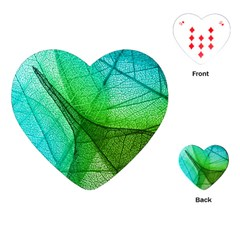 Sunlight Filtering Through Transparent Leaves Green Blue Playing Cards (heart)