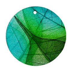 Sunlight Filtering Through Transparent Leaves Green Blue Round Ornament (two Sides)