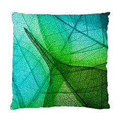 Sunlight Filtering Through Transparent Leaves Green Blue Standard Cushion Case (two Sides)