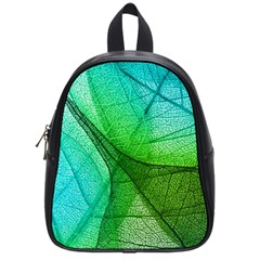 Sunlight Filtering Through Transparent Leaves Green Blue School Bags (small)