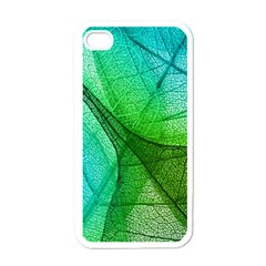 Sunlight Filtering Through Transparent Leaves Green Blue Apple Iphone 4 Case (white)