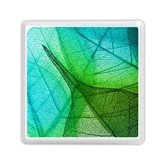 Sunlight Filtering Through Transparent Leaves Green Blue Memory Card Reader (square)