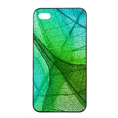 Sunlight Filtering Through Transparent Leaves Green Blue Apple Iphone 4/4s Seamless Case (black)