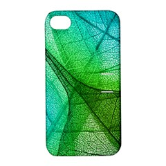 Sunlight Filtering Through Transparent Leaves Green Blue Apple Iphone 4/4s Hardshell Case With Stand