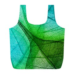 Sunlight Filtering Through Transparent Leaves Green Blue Full Print Recycle Bags (l)