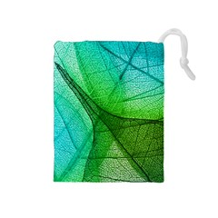 Sunlight Filtering Through Transparent Leaves Green Blue Drawstring Pouches (medium)