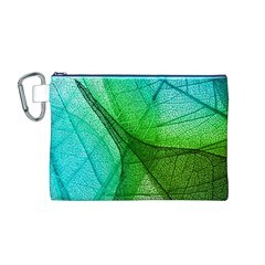 Sunlight Filtering Through Transparent Leaves Green Blue Canvas Cosmetic Bag (m)