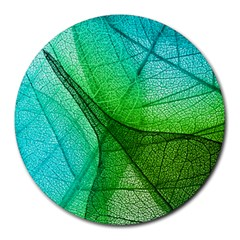 Sunlight Filtering Through Transparent Leaves Green Blue Round Mousepads
