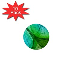 Sunlight Filtering Through Transparent Leaves Green Blue 1  Mini Buttons (10 Pack)