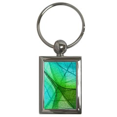 Sunlight Filtering Through Transparent Leaves Green Blue Key Chains (rectangle)