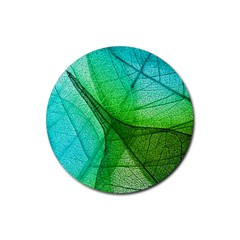 Sunlight Filtering Through Transparent Leaves Green Blue Rubber Round Coaster (4 Pack)