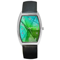 Sunlight Filtering Through Transparent Leaves Green Blue Barrel Style Metal Watch