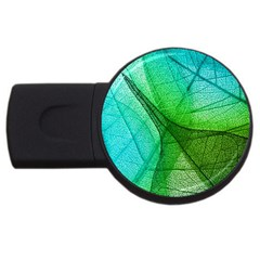 Sunlight Filtering Through Transparent Leaves Green Blue Usb Flash Drive Round (4 Gb)