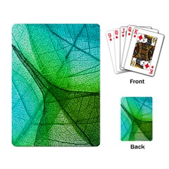 Sunlight Filtering Through Transparent Leaves Green Blue Playing Card