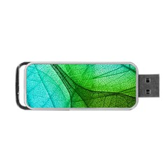 Sunlight Filtering Through Transparent Leaves Green Blue Portable Usb Flash (two Sides)
