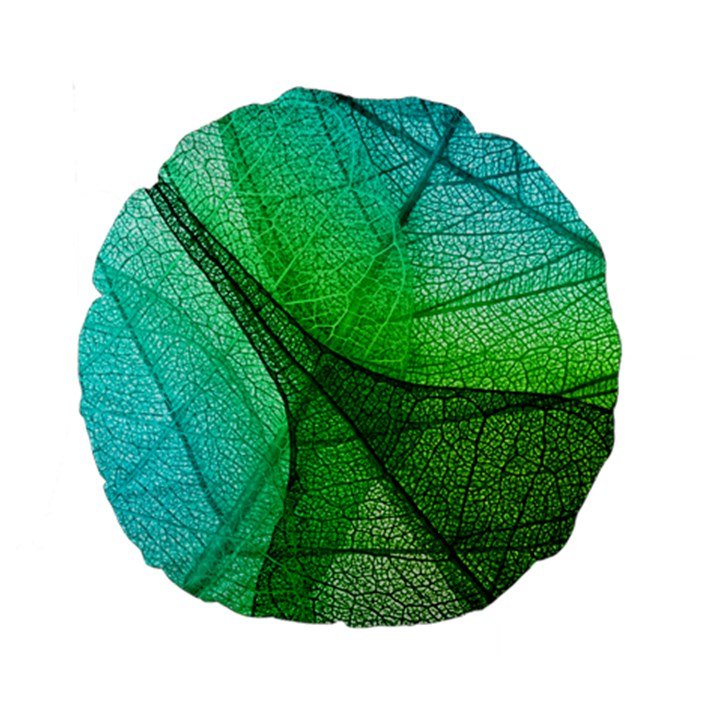 Sunlight Filtering Through Transparent Leaves Green Blue Standard 15  Premium Round Cushions