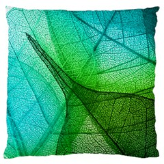 Sunlight Filtering Through Transparent Leaves Green Blue Large Flano Cushion Case (two Sides)