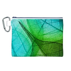 Sunlight Filtering Through Transparent Leaves Green Blue Canvas Cosmetic Bag (l)