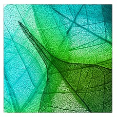 Sunlight Filtering Through Transparent Leaves Green Blue Large Satin Scarf (square)