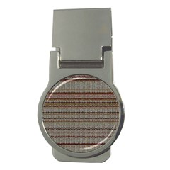 Stripy Knitted Wool Fabric Texture Money Clips (round)