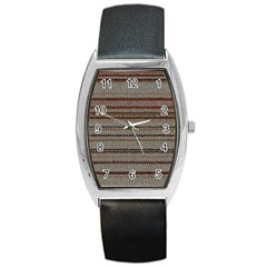 Stripy Knitted Wool Fabric Texture Barrel Style Metal Watch