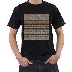 Stripy Knitted Wool Fabric Texture Men s T Shirt (black) (two Sided)