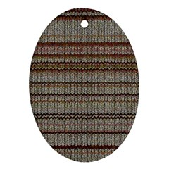 Stripy Knitted Wool Fabric Texture Oval Ornament (two Sides)