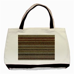Stripy Knitted Wool Fabric Texture Basic Tote Bag (two Sides)