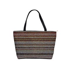 Stripy Knitted Wool Fabric Texture Shoulder Handbags