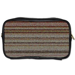 Stripy Knitted Wool Fabric Texture Toiletries Bags 2 Side