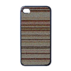 Stripy Knitted Wool Fabric Texture Apple Iphone 4 Case (black)
